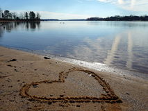 Heart in the Sand on Lake Royalty Free Stock Image
