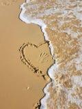Heart in sand. In the Mediterranean sea Stock Photo