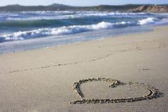 Heart in sand - Sardinia, Italy Royalty Free Stock Photography