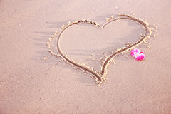 Heart in the sand on the seashore Royalty Free Stock Photos