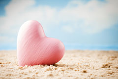 Heart on the sand on the seashore. Royalty Free Stock Photography