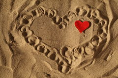 Heart in the sand on the seashore Royalty Free Stock Photography