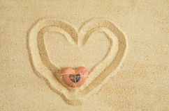 Heart in sand Royalty Free Stock Images