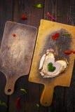 Heart sandwich shape wood board peppers food stock photography