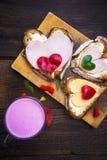 Heart sandwich shape wood board peppers food buttermilk Stock Photography