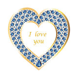 Heart of sapphire in a gold frame vector card. Heart of sapphires in a gold frame. Romantic holiday card. Vector, isolated object Royalty Free Stock Image