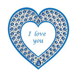 Heart of sapphire vector card. Heart of sapphires. Romantic holiday card. Vector, isolated object Royalty Free Stock Photography