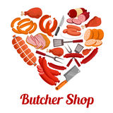 Heart of sausage, ham and bacon poster design Royalty Free Stock Photos