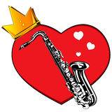 Heart and saxophone. Royalty Free Stock Photo