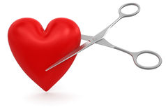 Heart with Scissors (clipping path included) Royalty Free Stock Photos