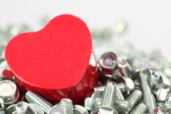 A Heart for screws Stock Photos
