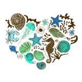 Heart of sea animals and shells Stock Photo