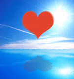 Heart on sea and sky background Stock Image