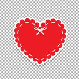 Heart seal stamp for scrapbooking design. Red paper cut heart label with white lacing and ribbon. Sticker or emblem with lace, bow and copy space. Heart seal Stock Image