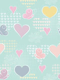 Heart seamless background. Heart seamless background with flowers and butterflies Royalty Free Stock Photo
