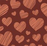 Heart, seamless background, chocolate, vector. Stock Photos