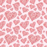 Heart seamless background of hand written words Royalty Free Stock Photo