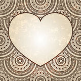 Heart on  seamless eastern floral  background Royalty Free Stock Photography