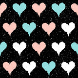 Heart seamless pattern background. Doodle handmade blue, pink an Stock Photography