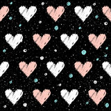 Heart seamless pattern background. Doodle handmade pink and whit Stock Images