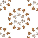 Heart seamless pattern background. Leopard, giraffe print skin. Romantic wallpaper. Stock Photos