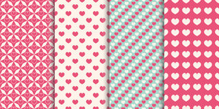 Heart seamless pattern background. Set of different patterns for wrapper, holiday prints, wallpaper, scrapbook, wedding