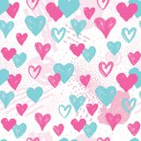 Heart seamless pattern. Holiday background. Valentine day decor. Love heart seamless pattern. Abstract Valentine day hand drawn background. Holiday ornamental Stock Illustration