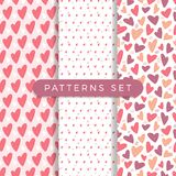Heart seamless pattern set. Vector love illustration. Valentine Day, Mother Day. Wedding, scrapbook, gift wrapping paper, textil