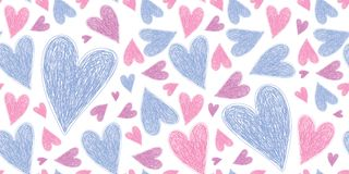 Heart seamless pattern. Vector love illustration. Valentine`s Day, Mother`s Day. Wedding, scrapbook, gift wrapping paper, textil. Es. Doodle sketch. Color vector illustration
