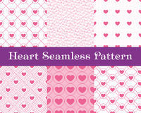 Heart  seamless patterns. Pink color. Endless tiling texture for printing onto fabric and paper or scrap booking. Valentin Stock Images