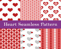 Heart  seamless patterns. Pink and red color. Endless tiling texture for printing onto fabric and paper or scrap booking. Valentin Stock Images