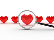 Heart Search. 3D image of heart search on white background Stock Photo