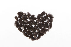 Sunflower and heart. Black sunflower seeds Laid heart Stock Images