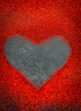heart of sequins on black background Valentines day royalty free stock photo