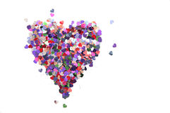 Heart of sequins on white background Royalty Free Stock Photo