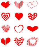 Heart set. Design set of various heart shapes Royalty Free Stock Image