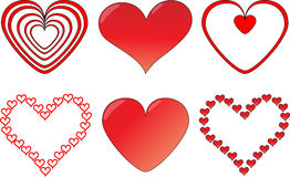 Heart set. Set of six different heart icons Royalty Free Stock Photos