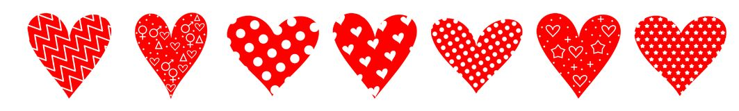 Heart set colorful pattern love valentine. S day Royalty Free Stock Photo
