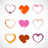 Heart Set. Grunge with Splashes, Stains, Blots. Heart Set. Grunge Pink, Red, Orange Valentine Symbols with Splashes, Stains, Blots Stock Image
