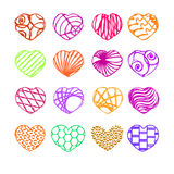 Heart, a set of 16 hearts, icon,. Heart, a set of 16 hearts, colorful icons stock illustration
