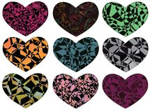 Heart set. A set of nine hearts with fractured patterns of various colors vector illustration
