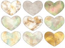Heart set. A set of nine hearts with polygon patters Royalty Free Stock Images