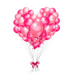 Heart set of pink birthday balloons Royalty Free Stock Photo