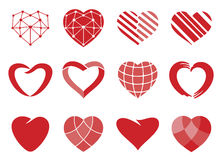 Heart. Set of red vector hearts icons. Love symbol. Valentines Day sign, wedding emblem isolated on white background. Flat style for graphic and web design, logo Royalty Free Stock Photo
