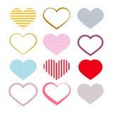 Heart Set. Retro Valentine Symbols. Stock Photo