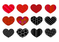 Heart 12. Set of twelve different hearts Royalty Free Stock Photography