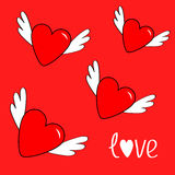 Heart set with wings. Cute cartoon contour sign symbol. Winged shining angel hearts. Stock Photos