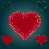 Heart with sewing seams, gold stars. On a dark green background Royalty Free Stock Image