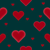 Heart with sewing seams, gold stars. Seamless pattern. Heart with sewing seams, gold stars on a dark green background. Seamless pattern Royalty Free Stock Images