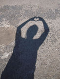 Heart Shadow. A picture of a hand-heart shadow Stock Photos
